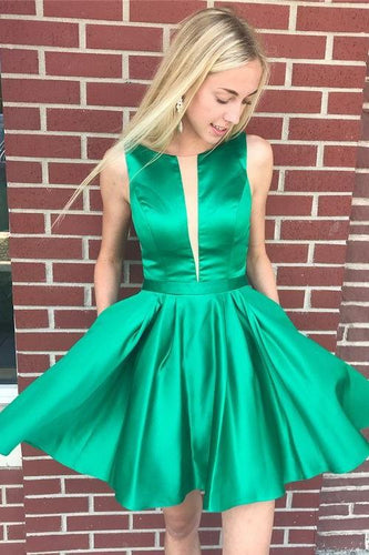 Illusion Insert Short Green Homecoming Dress Simple Cocktail Dress ANN5504