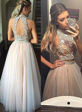 Two Pieces Prom Dresses,Long Prom Dress 2018 A-line Tulle Beaded JW113
