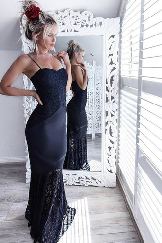 Lace&Satin Navy Blue Prom Dresses Spaghetti Straps Long Bridesmaid Dress ANN2402