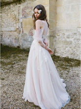 Long Sleeve Bohemian Beach Wedding Dresses Cold Shoulder Boho Rustic Wedding Dress NA2011