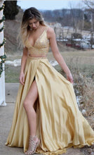 A-Line V-neck Yellow Satin Beaded Long Two Piece Prom Dress JKQ118|Annapromdress
