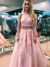 A-line High Neck Pink Tulle Appliques Two Piece Prom Dress JKQ104
