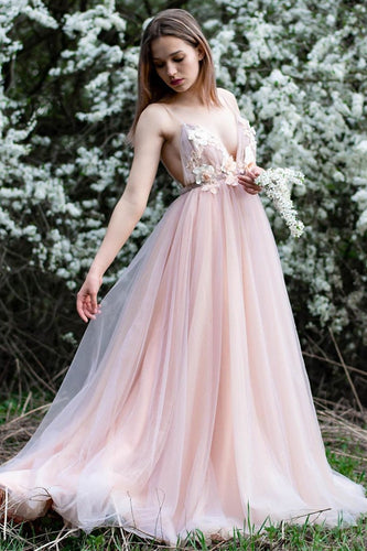 Romantic Spaghetti Straps Long Formal Dress with Handmade Flowers AN635