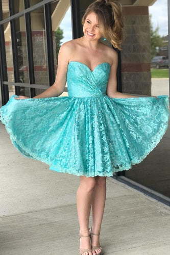 Ruched Sweetheart Lace Tiffany Blue Homecoming Dresses Short ANN5501