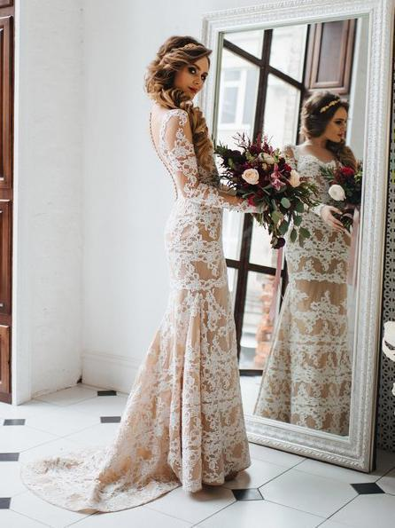Sexy Nude Mermaid Wedding Dresses Long Sleeve Ivory Lace Rustic Wedding Dress NA2008