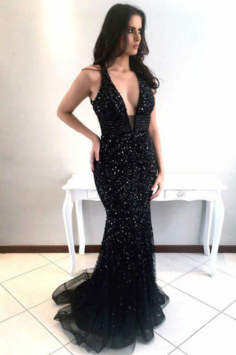 Sexy V-neckline Sequin Black Prom Dress with Rhinestones Bodice Evening Gown ANN2408