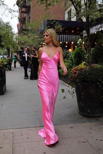 Spaghetti Straps Fuchsia Silk V Neck Long Prom/Evening Dress ANN2406