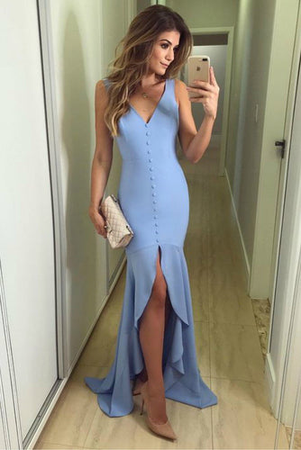 Light Blue V-neck Slim Fit Prom Gown with Buttons Details ANN2405
