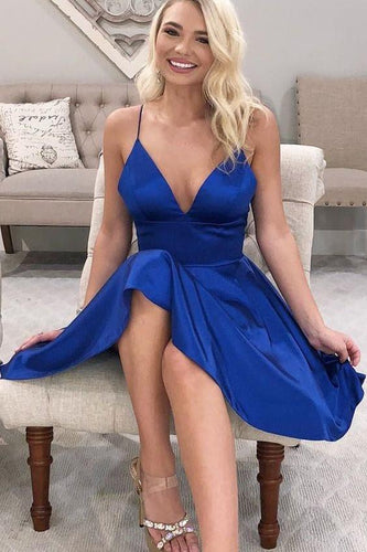 V-neckline Royal Blue Short Cocktail Dress Under $100 Simple Homecoming Dress