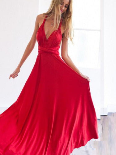 Stylish Open Back Matron of Honor Dress Long Prom Dress Bridesmaid Dress MK513