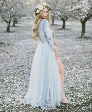 Deep V neck Boho Wedding Dress With Long Sleeve Rustic Wedding Dresses NA4005|Annapromdress