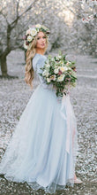 Deep V neck Boho Wedding Dress With Long Sleeve Rustic Wedding Dresses NA4005