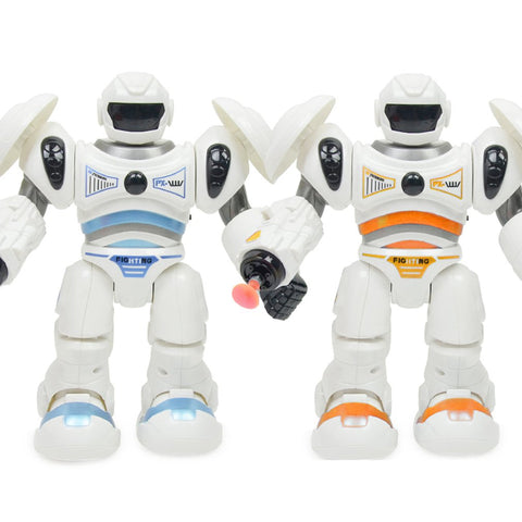 2.0 Version Robot Sound And Light Music Space Police Walking Manually Shooting Playing Children's Puzzle Model Robots New