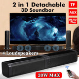 2 in 1 Detachable bluetooth 5.0 Speaker 20W Bass HiFi Wireless Soundbar