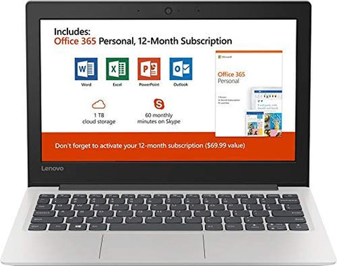 "Lenovo 130S 11.6"" HD Laptop, Intel,Windows 10, Office 365 Personal 1-Year Included"