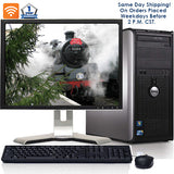 "Dell Desktop Computer Bundle Windows 10 PC Intel Core 2 Duo 4GB RAM 160GB HD DVD 300Mps Wifi Bluetooth with a 17"" LCD - Same Day Shipping"