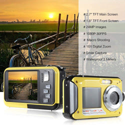 Waterproof Digital Camera Full HD Underwater Camera 24 MP Video Recorder Selfie Dual Screen DV Recording Camera