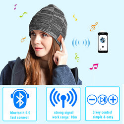 Bluetooth 5.0 Music Hat Headphones With Receiver Speaker USB