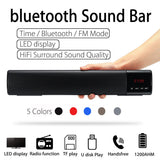Home TV PC bluetooth Soundbar Speaker Portable Wireless Subwoofer 3D Surround Speakers HiFi Support FM Radio Clock TF USB
