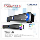 Original Smalody 9014 Stereo High Fidelity Bass Subwoofer Computer Speakers Colorful LED Computer Soundbar HIFI on AliExpress