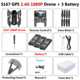 S167 Foldable Profissional Drone with Camera 4K HD Selfie 5G GPS  WiFi FPV Wide Angle RC Quadcopter Helicopter Toy E520S SG900 S