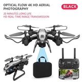 Drone KY909 HD 4K WiFi video live fpv drone light flow keep height quad axis aircraft one button take off drone with camera on