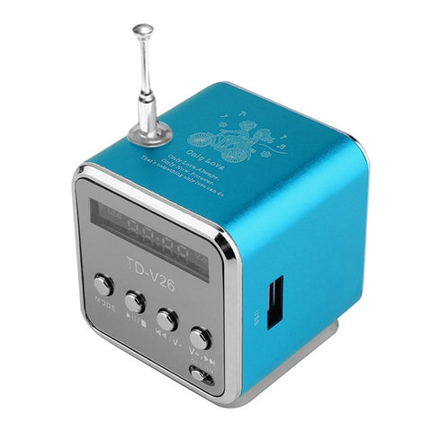 Portable Aluminum Alloy  TD V26 Mini Speaker Portable Digital LCD Sound Micro SD/TF FM Radio Music Stereo Loudspeaker for Laptop