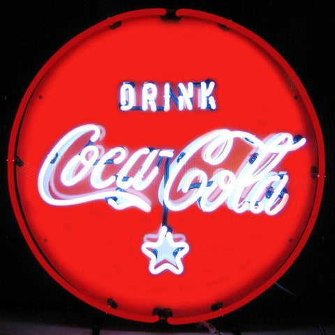 coca-cola red white & coke neon sign
