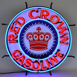 red crown gasoline neon sign with backing