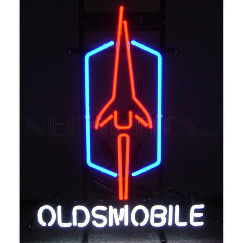 OLDSMOBILE ON METAL GRID NEON SIGN