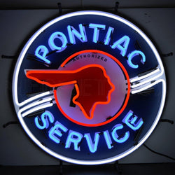 pontiac service neon sign with silkscreen backing
