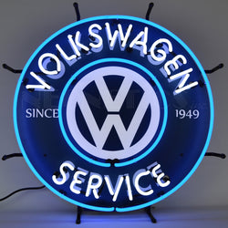 volkswagen service neon sign with backing