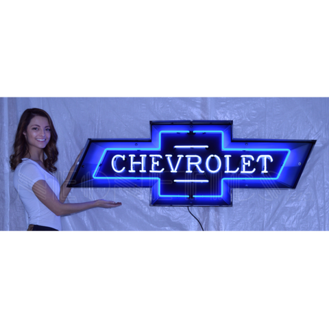 5 FOOT CHEVROLET BOWTIE NEON SIGN IN STEEL CAN