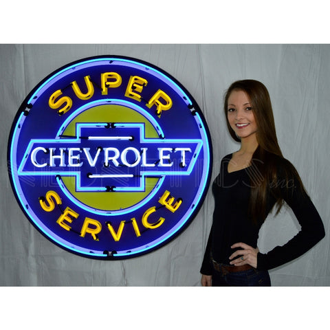 gm super chevy service 36 inch neon sign in metal can