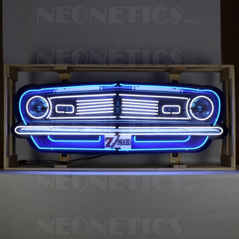 CAMARO Z/28 GRILL NEON SIGN IN STEEL CAN