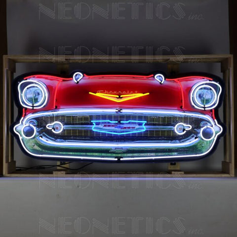 57 CHEVY BEL AIR GRILL NEON SIGN IN STEEL CAN