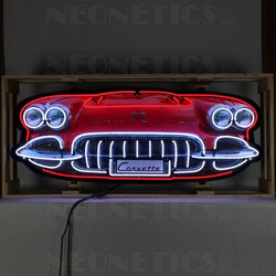 CORVETTE C1 GRILL NEON SIGN IN STEEL CAN
