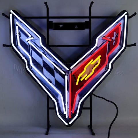 CORVETTE C8 NEON SIGN WITH BACKING