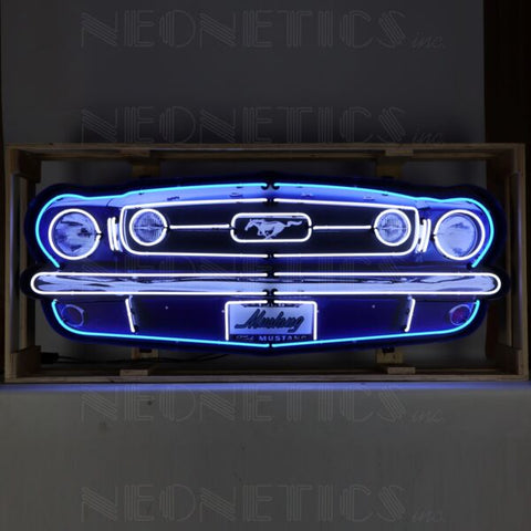 FORD MUSTANG GRILL NEON SIGN IN STEEL CAN