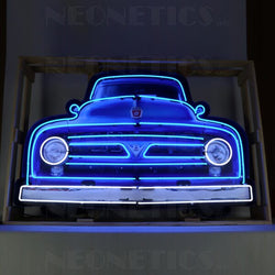 FORD V8 TRUCK GRILL NEON SIGN IN STEEL CAN