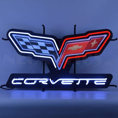 GM CORVETTE C6 FLAGS NEON SIGN WITH BACKING