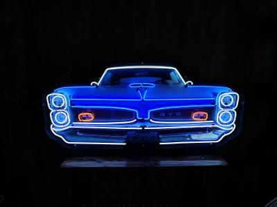 GTO GRILL NEON SIGN IN STEEL CAN