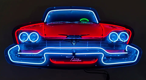 PLYMOUTH FURY GRILL NEON SIGN IN STEEL CAN