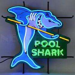 POOL SHARK NEON SIGN WITH BACKING