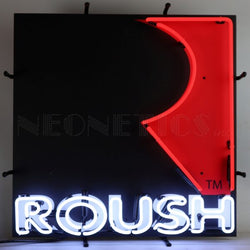 ROUSH SQUARE R NEON SIGN WITH BACKING