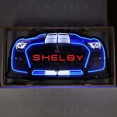 SHELBY GT 500 GRILL NEON SIGN IN STEEL CAN