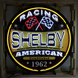SHELBY RACING ROUND NEON SIGN IN 36 INCH STEEL CAN