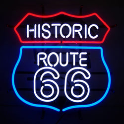 ROUTE 66 NEON SIGN WITH BACKING