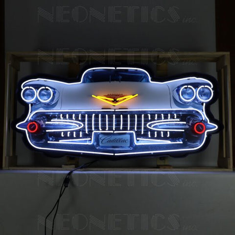 CADILLAC GRILL NEON SIGN IN STEEL CAN