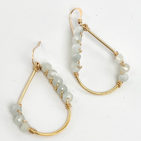 Aquamarine Teardrop Gold Filled Earring